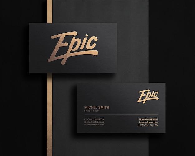 Maquete de logotipo luxuoso e moderno em cartão de visita escuro