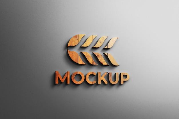Maquete de logotipo madeira 3d moderna parede