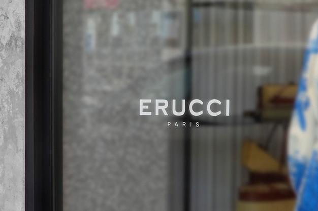 Maquete de logotipo moderno e luxuoso para janela