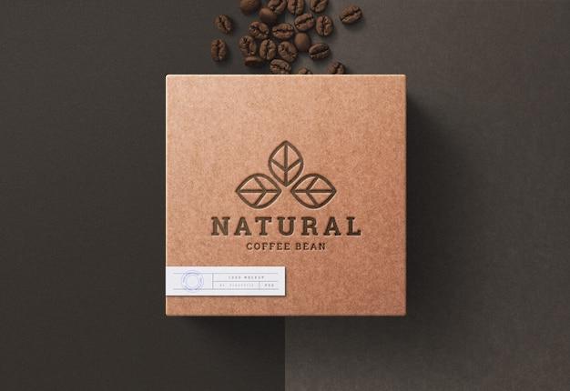 Maquete de logotipo na caixa de café