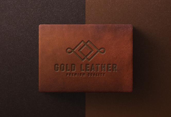 Maquete de logotipo na caixa de couro