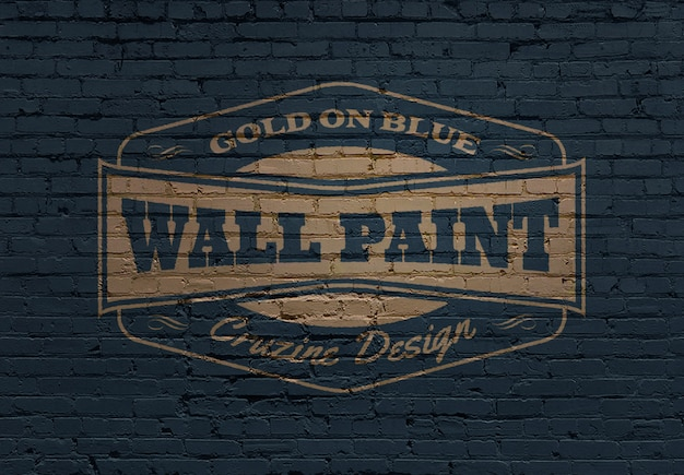 Maquete de logotipo na parede de alvenaria de tijolo