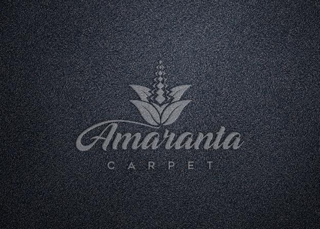 Maquete de logotipo na textura do tapete