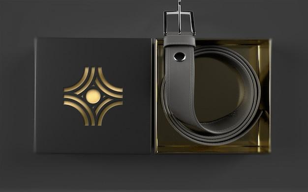 Maquete de logotipo no pacote de cinto de couro Psd Premium