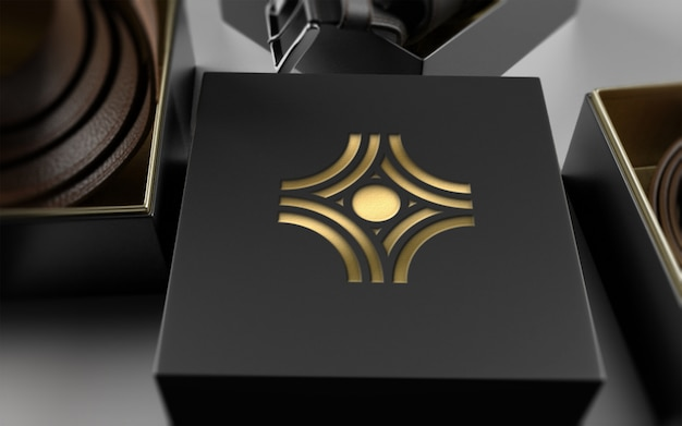 Maquete de logotipo no pacote de cinto de couro