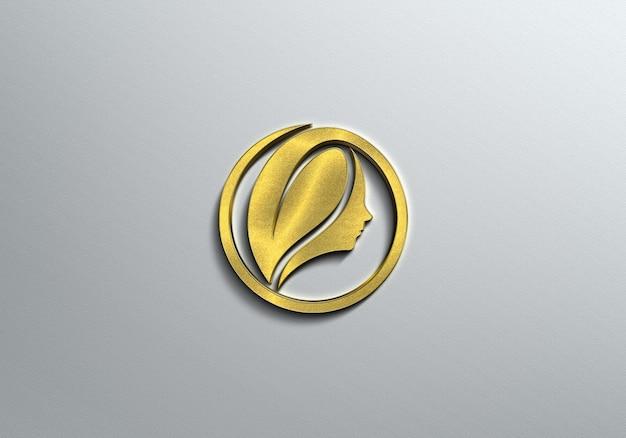 Maquete de logotipo ouro 3d
