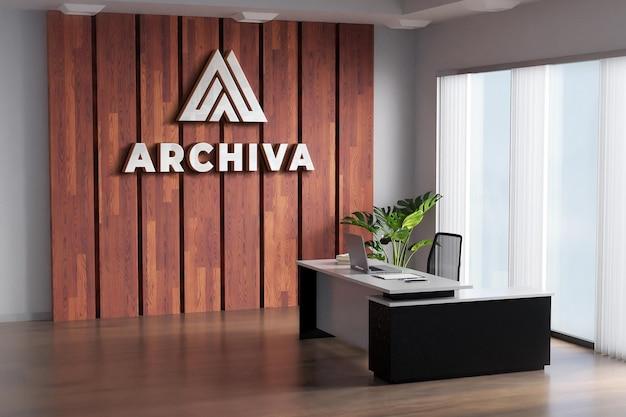 Maquete de logotipo para sala de escritório, parede de madeira realista