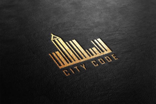 Maquete de logotipo perfurado de couro dourado de luxo
