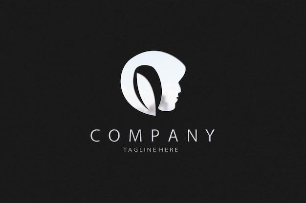 Maquete de logotipo prateado de luxo