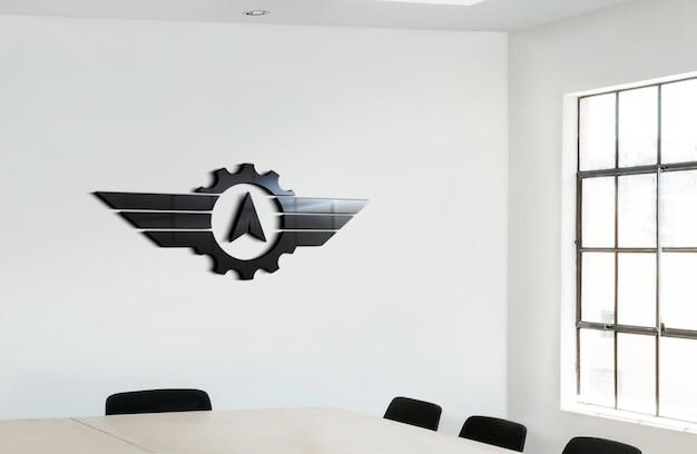 Maquete de logotipo preto brilhante com placas de parede