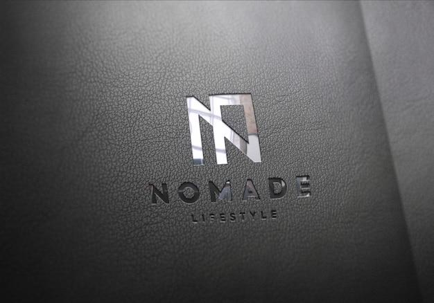 Maquete de logotipo preto couro