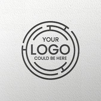 Maquete de logotipo preto gravado
