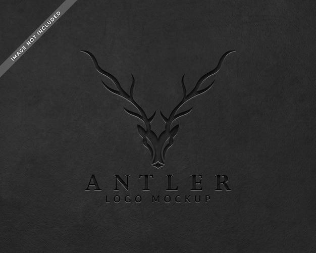Maquete de logotipo preto perfurado
