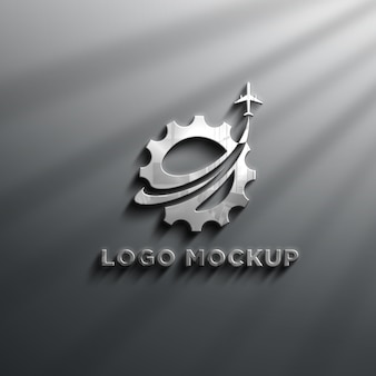 Maquete de logotipo realista de efeitos de cromo 3d