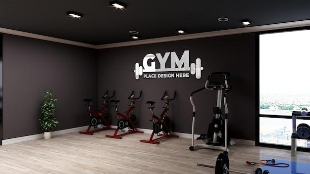 Maquete de logotipo realista na moderna sala de ginástica e ginástica