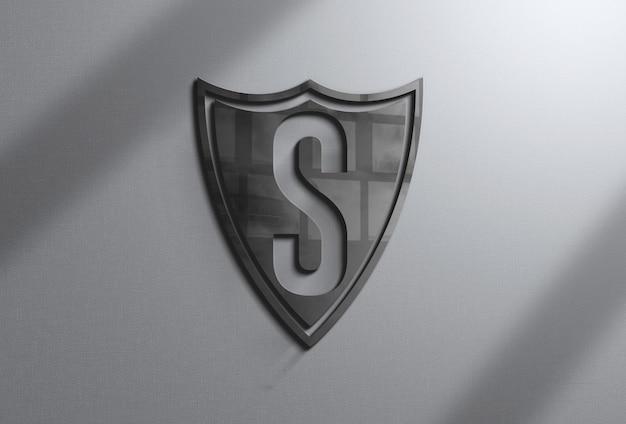 Maquete de logotipo realista na parede