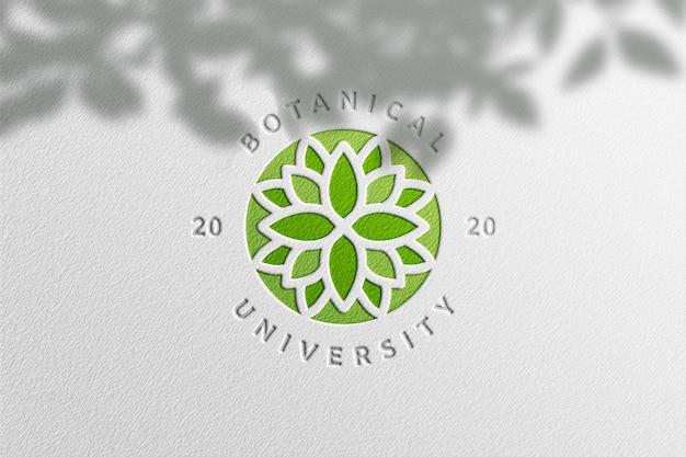 Maquete de logotipo simples em papel branco com sombra de planta
