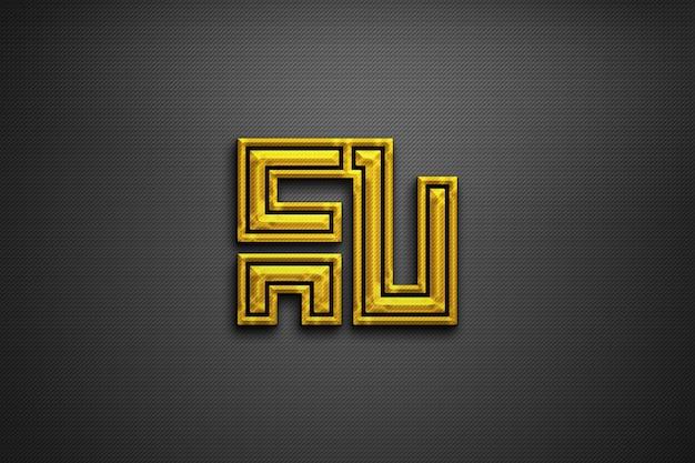 Maquete de logotipo texturizado dourado 3d