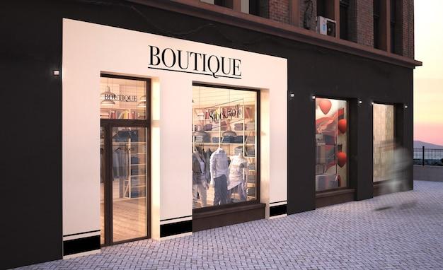 Maquete de loja de moda com renderização em 3d