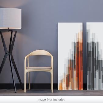 Maquete de lona ao lado de cadeira e lâmpada