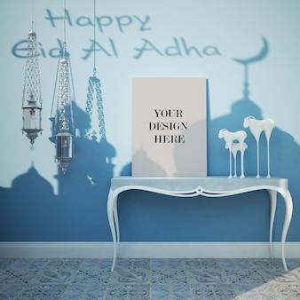 Maquete de lona para o festival eid com lâmpadas decorativas no interior de estilo árabe