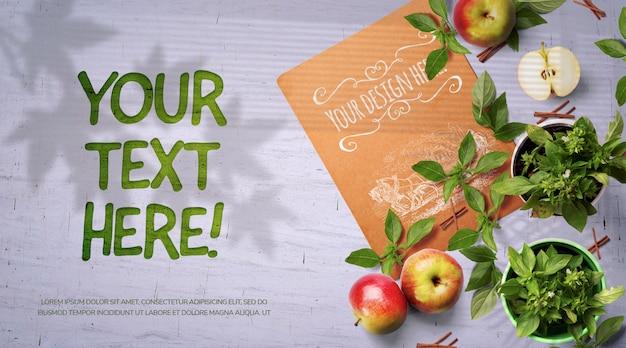 Maquete de maçãs e especiarias restaurante saudável branding, vista superior