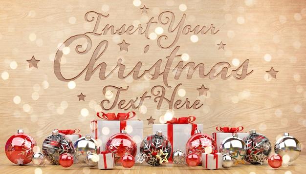 Maquete de madeira esculpida com decorações de natal
