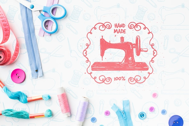 Maquete de máquina de costura com zíperes