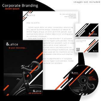 Maquete de marca corporativa com cd de música e artigos de papelaria