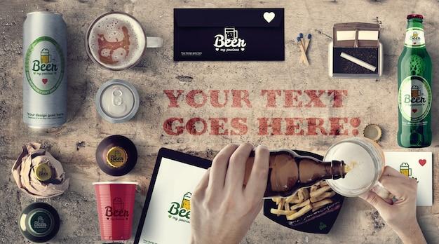 Maquete de marca e embalagem de cerveja