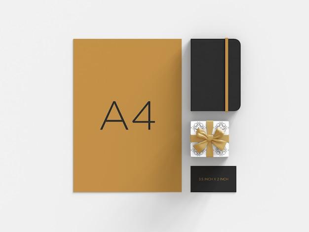 Maquete de marca premium com vista superior da caixa de presente