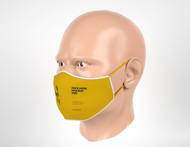 Maquete de máscara cirúrgica com manequim homem vista esquerda