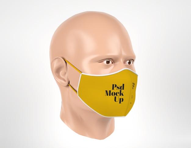 Maquete de máscara cirúrgica com vista direita do manequim de homem