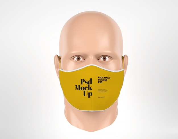 Maquete de máscara facial com vista frontal de manequim de homem