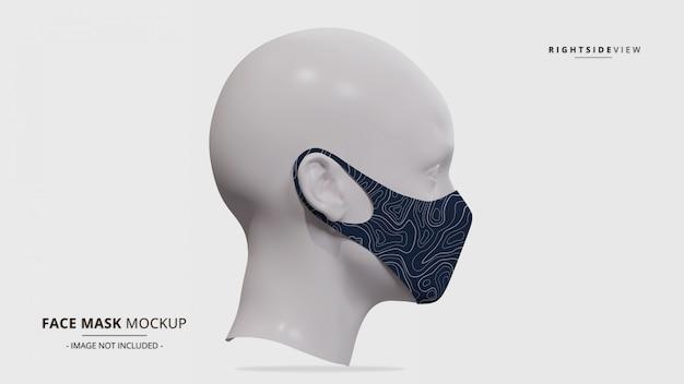 Maquete de máscara facial realista do gancho vista lateral direita