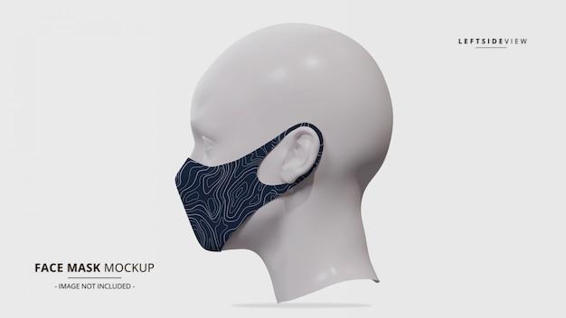 Maquete de máscara facial realista earloop vista lateral esquerda