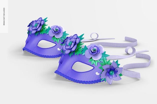 Maquete de máscara veneziana floral, vista direita