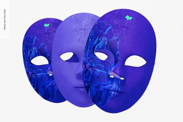 Maquete de máscaras faciais simples venezianas, vista frontal