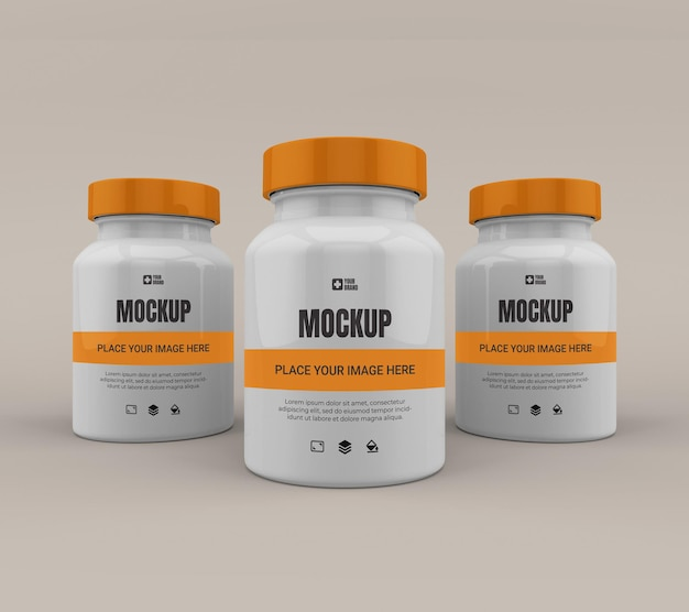 Maquete de medicamento de frasco de pílula isolada