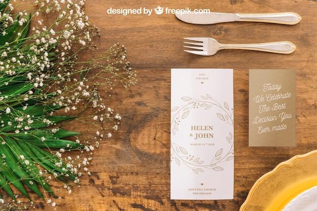 Maquete de menu de casamento