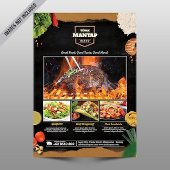Maquete de menu de comida de restaurante