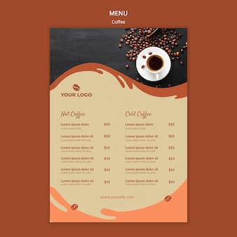 Maquete de menu de conceito de café