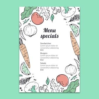 Maquete de menu desenhado de mão
