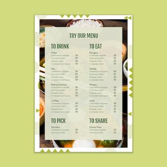 Maquete de menu