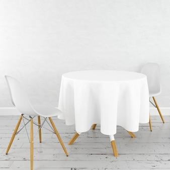 Maquete de mesa de jantar redonda com um pano branco e cadeiras modernas