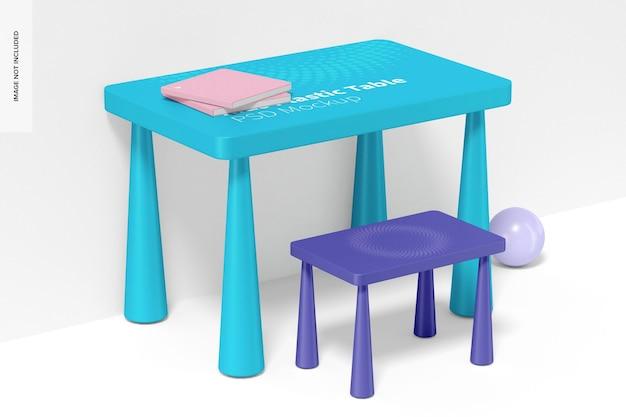 Maquete de mesa infantil de plástico, vista esquerda
