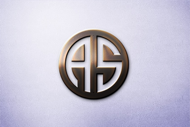 Maquete de metal 3d logotipo na parede Psd Premium