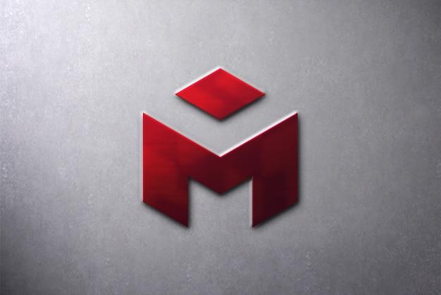 Maquete de metal 3d logotipo na parede