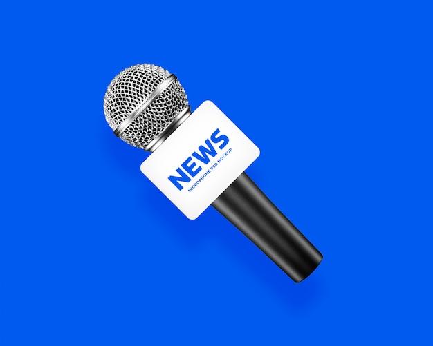 Maquete de microfone do canal de mídia âncora de notícias