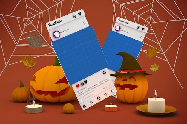 Maquete de mídia social de halloween